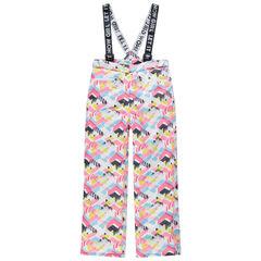 Junior - Pantalon de ski imperméable à bretelles imprimé all-over