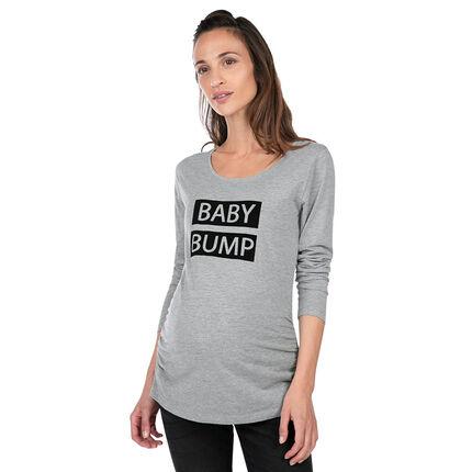 Tee-shirt de grossesse manches longues en jersey avec message printé