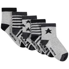 Lot de 5 paires de chaussettes assorties étoiles/rayures en jacquard