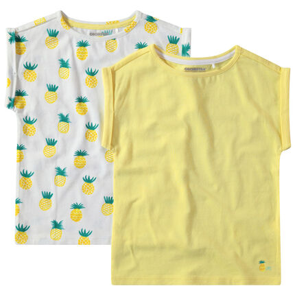 Lot de 2 t-shirts en coton uni / imprimé all-over