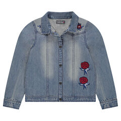 Junior - Veste en jeans effet used avec roses brodées