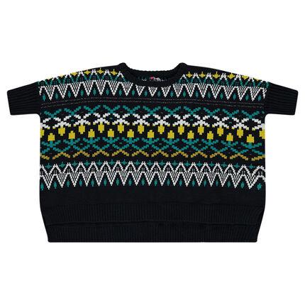 Pull poncho en tricot motif jacquard