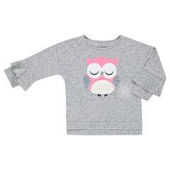 Tee-shirt manches 3/4 avec chouette printée et sequins iridescents