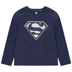 T-shirt manches longues avec sequins magiques Superman