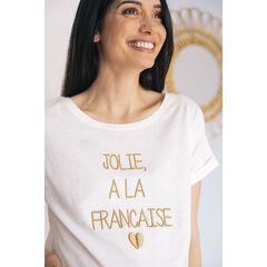 T-shirt de grossesse manches courtes à message doré brodé , Prémaman