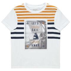 T-shirt manches courtes à rayures et print bateau , Orchestra