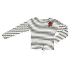 Junior - Tee-shirt manches longues rayé avec rose brodée