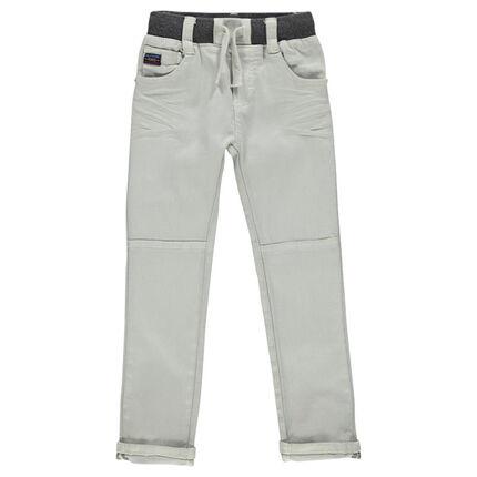 Jeans effet crinkle à taille élastiquée