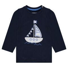 Tee-shirt manches longues avec bateau patché