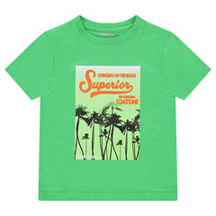 Tee-shirt manches courtes en jersey avec print fantaisie esprit vacances