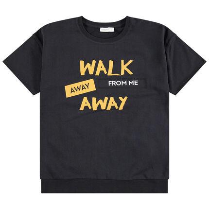 Junior - T-shirt manches courtes en molleton à message printé