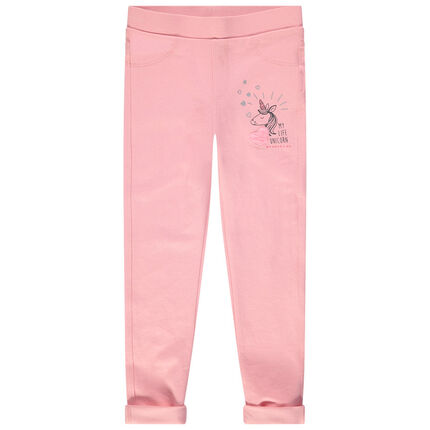 Jegging uni rose avec print licorne et poches