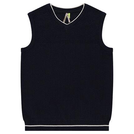 Junior - Pull sans manches en tricot fantaisie