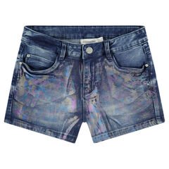 Junior - Short en jeans avec enduction effet arc-en-ciel