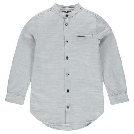 Junior - Chemise manches longues en coton col mao