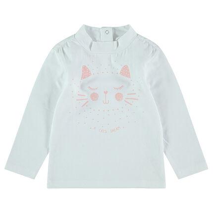 Sous-pull en jersey avec col cheminée et chat printé