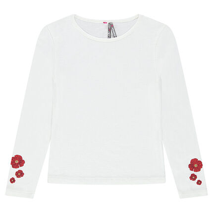 Tee-shirt manches longues print coquelicot
