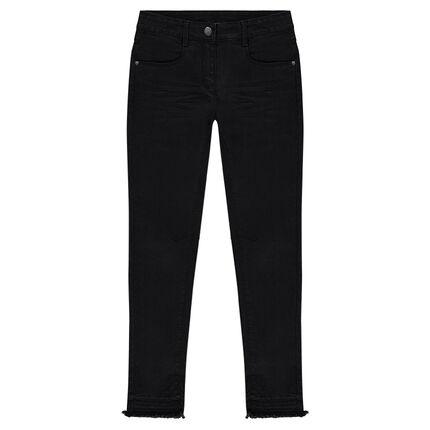 Pantalon slim en twill effet crinkle avec poches et zips