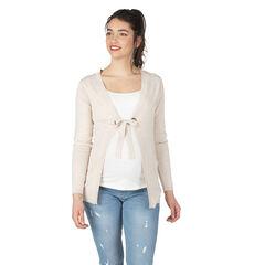 Gilet de grossesse en tricot chiné avec liens à nouer