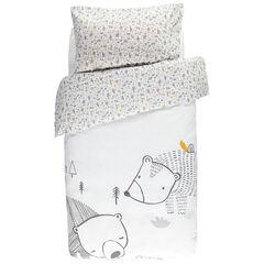 Parure de lit avec housse de couette print ours et taie imprimée all-over