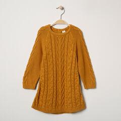 Robe manches longues en tricot ocre à jeux de mailles