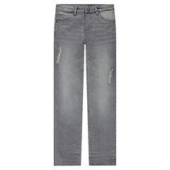 Junior - Jeans coupe slim avec déchirures fantaisie