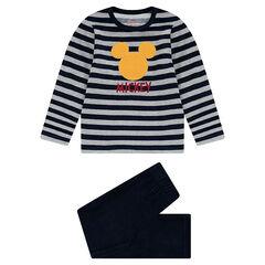 Pyjama en velours rayé ©Disney avec serti Mickey patché