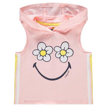 Débardeur à capuche avec fleurs et Smiley printés