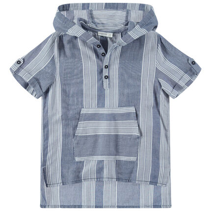 Junior - Chemise manches courtes à capuche avec poche kangourou