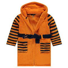 Robe de chambre en sherpa avec capuche à broderies tigre