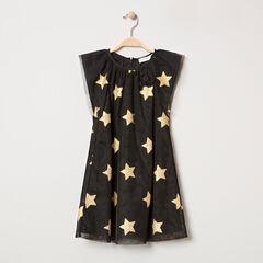 Robe de fête manches courtes en tulle à étoiles dorées