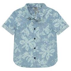 Chemise manches courtes avec imprimé fleurs all-over
