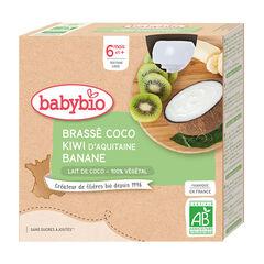 Pack de 4 gourdes brassé lait de coco kiwi banane bio , Babybio
