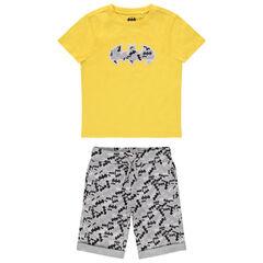 Ensemble avec t-shirt en coton jaune et bermuda motifs Batman