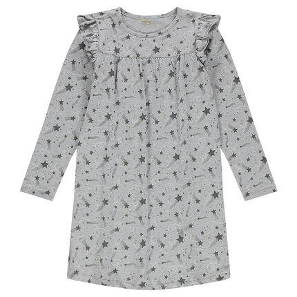 Junior - Chemise de nuit manches longues en jersey avec étoiles filantes