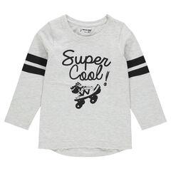 Junior - Tee-shirt manches longues avec bandes contrastées et print fantaisie