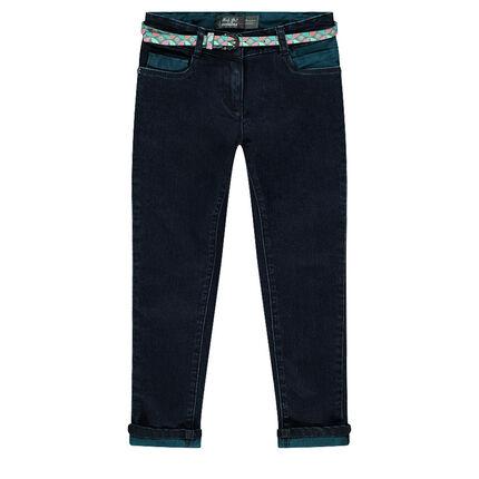 Jeans slim avec ceinture imprimée