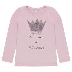 Tee-shirt manches longues en jersey avec couronne en sequins magiques