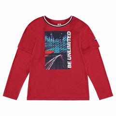 Junior - Tee-shirt manches longues effet 2 en 1 avec print sur le devant