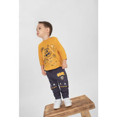 Tee-shirt manches longues jaune avec motifs fantaisie printés