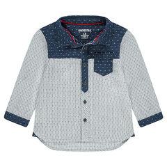 Chemise manches longues avec motifs placés en jacquard