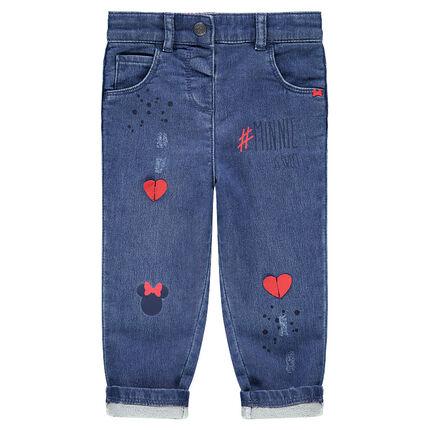 Jeans effet used avec coeurs et Minnie printés Disney