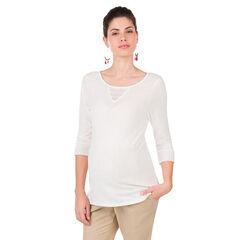 Tee-shirt de grossesse manches 3/4 avec empiècements dentelle
