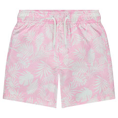 Junior - Short de bain pastel avec imprimé végétal all-over