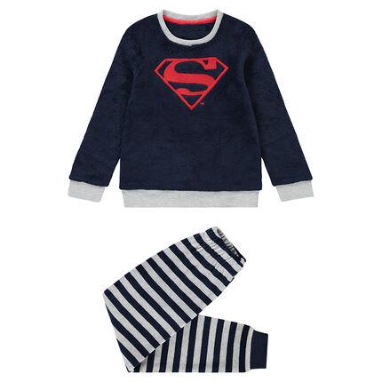 Pyjama en polaire avec logo Superman brodé et bas velours rayé