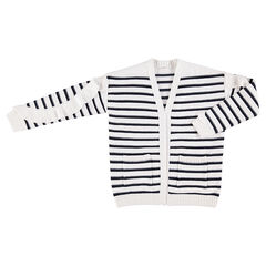 Junior - Gilet en tricot à rayures en jacquard avec volants et poches