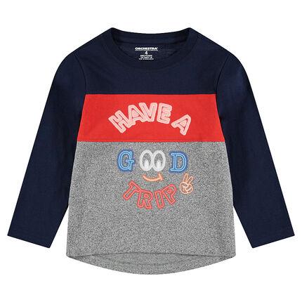Tee-shirt manches longues tricolore avec inscriptions printées style néon