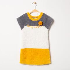Robe manches courtes tricolore en tricot poil