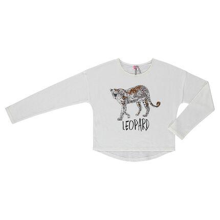 Junior - Tee-shirt forme boîte manches longues print léopard