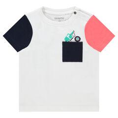 Tee-shirt manches à courtes contrastées et poche printée